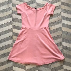 Forever 21 Baby Pink Off the Shoulder Skater Dress